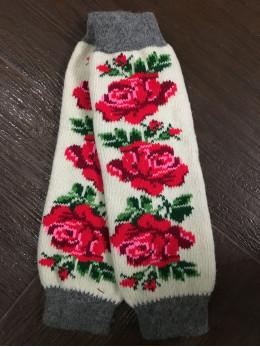Ангорові жіночі гетри з розою червоною на білому