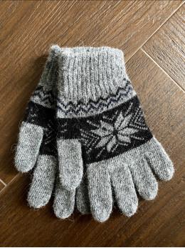 Ангорові чоловічі перчатки з орнаментом з чорним на сірому