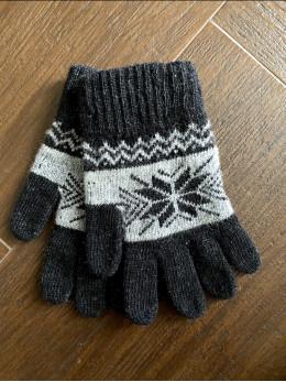 Ангорові чоловічі перчатки з орнаментом сірим на чорному