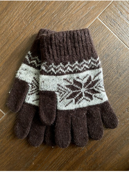 Ангорові чоловічі перчатки з орнаментом білим на коричневому