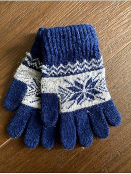 Ангорові чоловічі перчатки з орнаментом білим на синьому