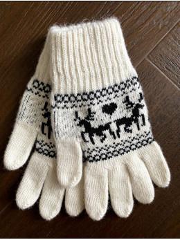 Ангорові жіночі перчатки з оленем чорним на білому