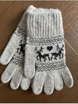 Ангорові жіночі перчатки з оленем чорним на світло сірому