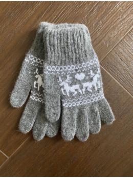 Ангорові жіночі перчатки з оленем білим на сірому