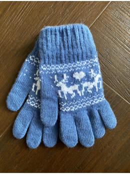 Ангорові жіночі перчатки з оленем білим на голубому