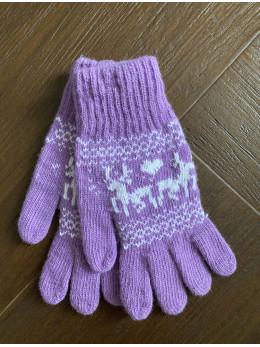 Ангорові жіночі перчатки з оленем білим на фіолетовому