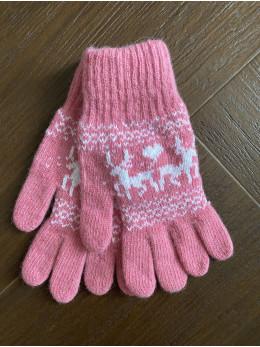 Ангорові жіночі перчатки з оленем білим на рожевому