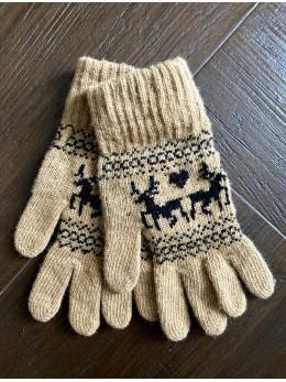 Ангорові жіночі перчатки з оленем чорним на бежевому