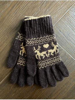 Ангорові жіночі перчатки з оленем бежевим на коричневому