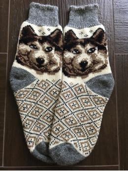 Ангорові чоловічі носки вовк 6 коричневий