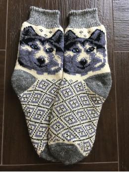 Ангорові чоловічі носки вовк 6 синій