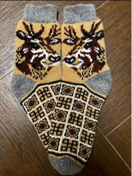 Ангорові чоловічі носки олень новий на бежевому