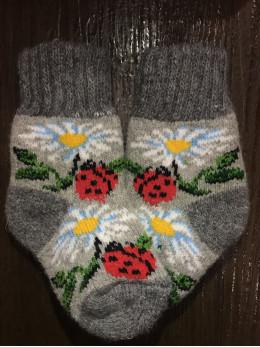 Ангорові дитячі носки р.1 ромашка сонечко на сірому