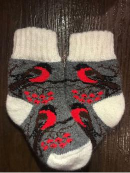 Ангорові дитячі носки р.1 снігур на сірому