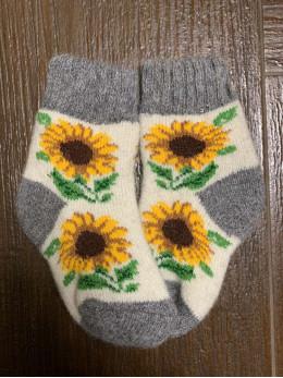 Ангорові дитячі носки р.1 соняшник на білому