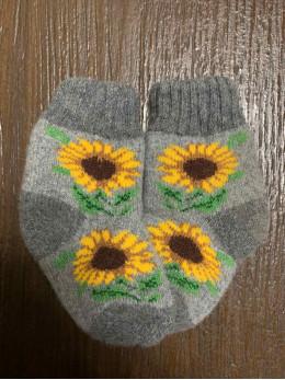 Ангорові дитячі носки р.1 соняшник на сірому