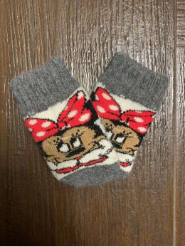 Ангорові дитячі носки р.1 Міні Маус з бантиком