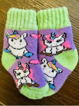 Ангорові дитячі носки р.1 2 єдинороги зелена
