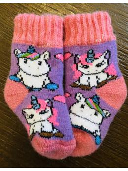 Ангорові дитячі носки р.1 2 єдинороги рожева