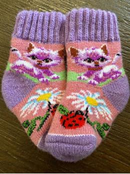 Ангорові дитячі носки р.1 котик з ромашкою та сонечком фіолетова