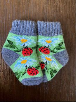 Ангорові дитячі носки р.1 ромашка сонечко на зеленому