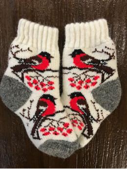 Ангорові дитячі носки р.2 снігур на білому сіра п'ятка