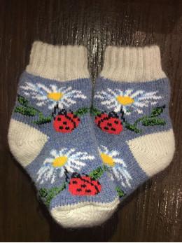 Ангорові дитячі носки р.2 ромашка сонечко на синьому