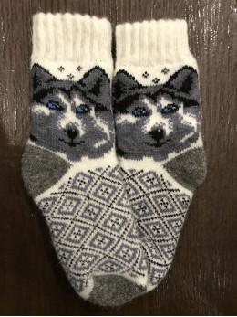 Ангорові дитячі носки р.3 вовк 6 синій