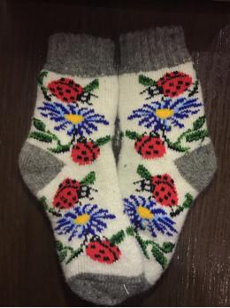 Ангорові дитячі носки р.3 ромашка сонечко на білому