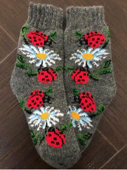 Ангорові дитячі носки р.3 ромашка сонечко на сірому