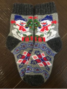 Ангорові дитячі носки р.3 сніговик на сірому