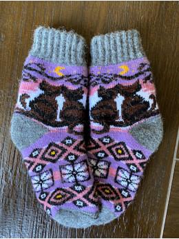 Ангорові дитячі носки р.3 2  коти на  фіолетовому