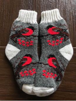 Ангорові дитячі носки р.4 снігур на сірому