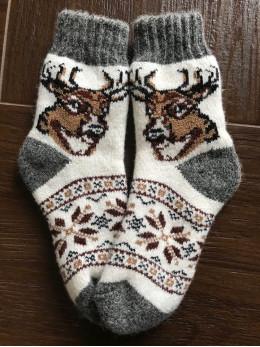 Ангорові дитячі носки р.4 голова оленя