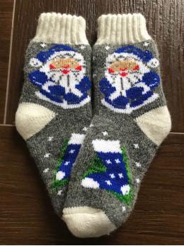 Ангорові дитячі носки р.4 дід мороз синій