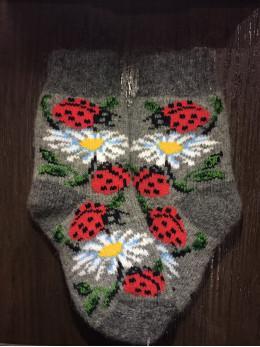 Ангорові дитячі носки р.4 ромашка сонечко на сірому