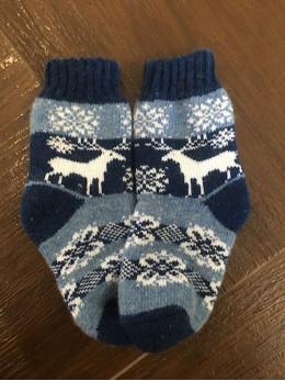 Ангорові дитячі носки р.4  олень на синьому