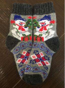 Ангорові дитячі носки р.4 сніговик на сірому
