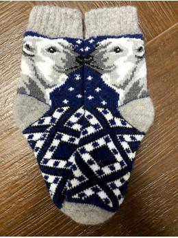 Ангорові дитячі носки р.4  умка на синьому