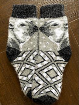 Ангорові дитячі носки р.4  умка на сірому