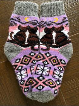 Ангорові дитячі носки р.4  2 котики на фіолетовому