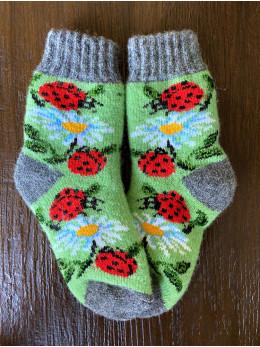 Ангорові дитячі носки р.4 ромашка сонечко на зеленому