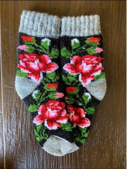 Ангорові дитячі носки р.4 роза рожева на чорному