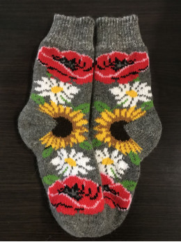 Ангорові жіночі носки з маком та соняхом на сірому