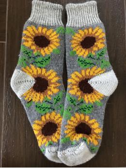 Ангорові жіночі носки з соняхом на сірому