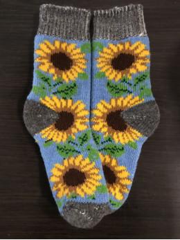 Ангорові жіночі носки з соняхом на голубому