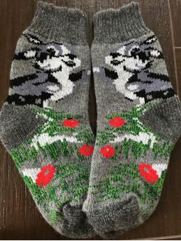 Ангорові жіночі носки зайчик на сірому
