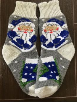 Ангорові жіночі носки дід мороз синій