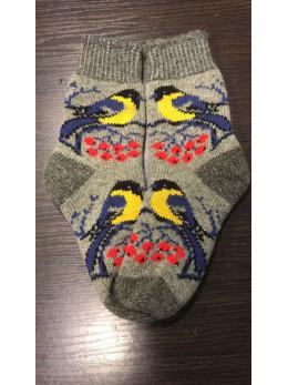 Ангорові жіночі носки з синичкою на сірому
