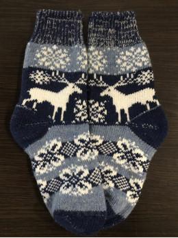 Ангорові жіночі носки олень зірочка на синьому